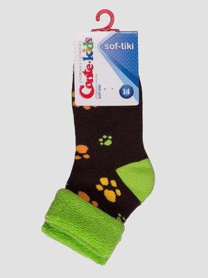 Шкарпетки шоколадного кольору махрові   3750302