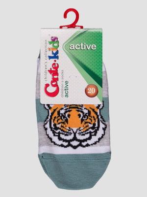 Шкарпетки сіро-бірюзові з малюнком | 4366786