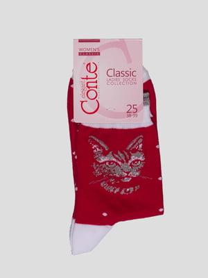 Носки бордовые с рисунком | 4366512