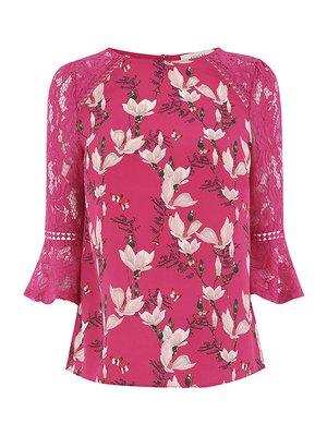 Блуза цвета фуксии в цветочный принт | 4374120