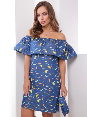 Платье синее в принт | 4379322