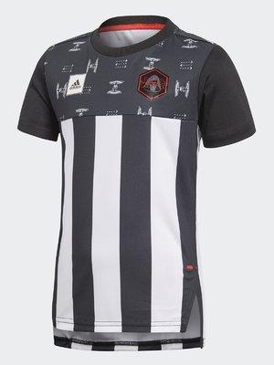Футболка черно-белая в полоску и принт   4375281