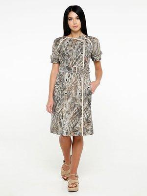 Платье коричневое в принт | 4382182