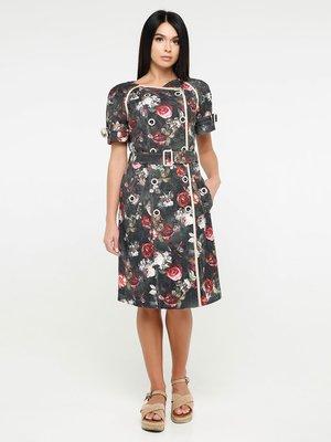 Платье цвета хаки в принт | 4382184