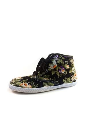 Кеды черные в цветочный принт   4383362