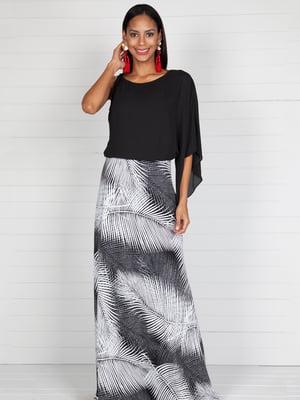 Платье черное с принтованной юбкой | 4383050