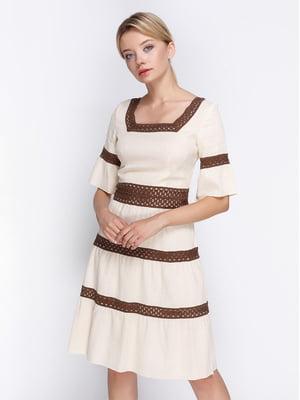 Сукня бежево-коричнева | 4358616