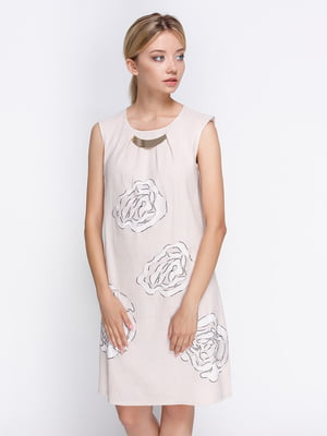 Платье молочного цвета с принтом | 4358659