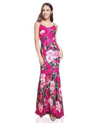 Сарафан малинового цвета в цветочный принт   2950678