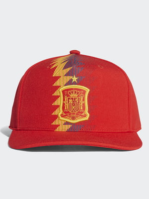 Бейсболка красная с принтом и вышивкой | 4376135