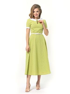 Сукня салатова в горошок | 4389320