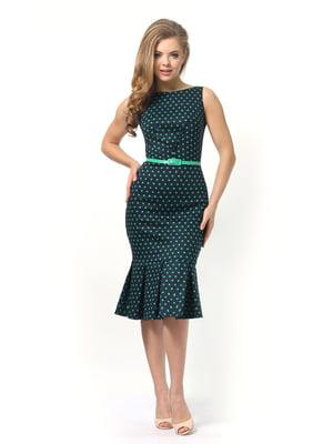 Сукня темно-синя в зелений горошок | 4389345