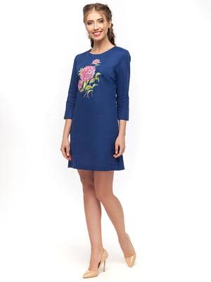 Сукня синя з вишивкою | 4389586