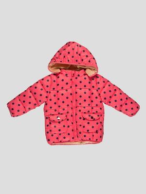 Куртка рожева в темно-синій горошок | 4386291