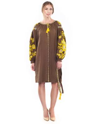 Сукня коричнева з вишивкою   4389573