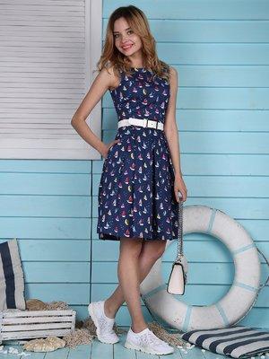Сукня темно-синя в принт | 4389083