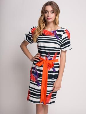 Сукня чорно-біла в квітковий принт і смужку | 4392844