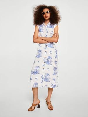 Платье белое в принт | 4303044
