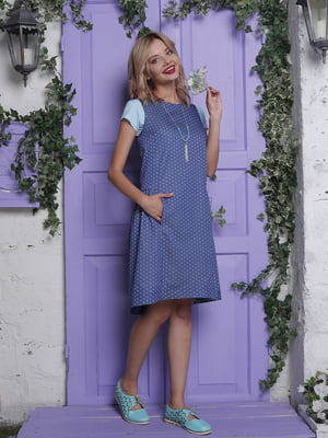 Платье синее в горошек   4398823