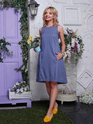 Платье синее в горошек | 4398825