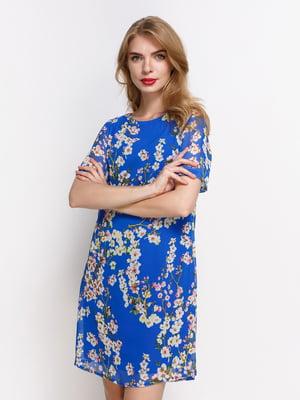 Сукня синя в квітковий принт - Ciolla - 4392738