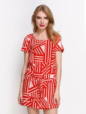 Сукня червона в принт | 4392789