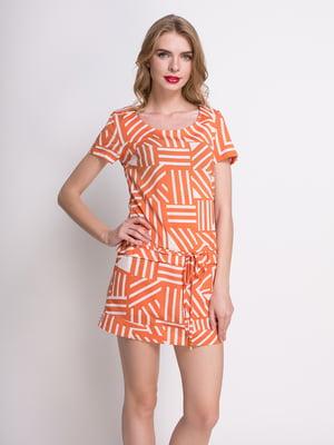 Сукня цегляного кольору в принт | 4392788