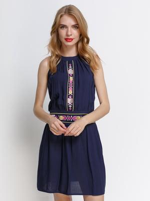 Сукня темно-синя з вишивкою - Ciolla - 4392822