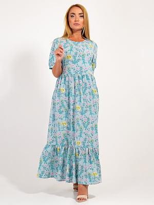 Платье бирюзовое в принт | 4400058