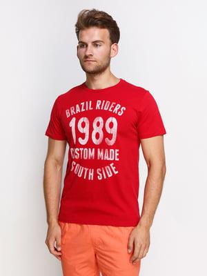 Футболка красная с принтом | 4399848