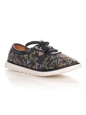 Туфли черные с принтом | 4400154
