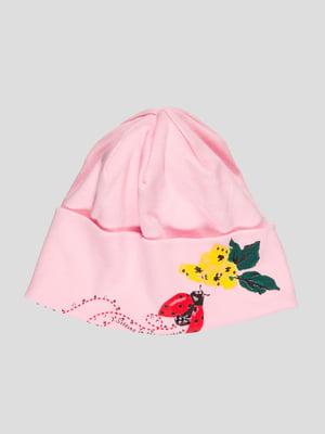 Шапка розовая с принтом и стразами | 1726929