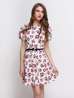 Платье белое в цветочный принт | 4408381