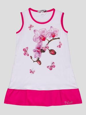 Платье бело-розовое с принтом | 4397676