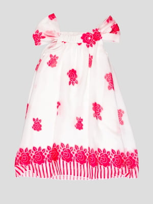 Платье белое в цветочный принт | 1726940
