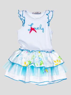 Платье бело-голубое в принт | 1764808
