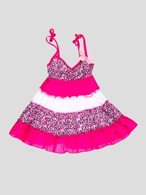 Сарафан бело-розовый с цветочным принтом | 4397680