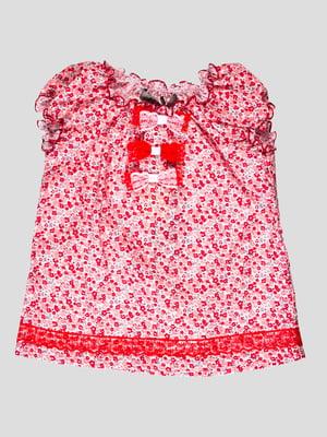 Туніка біло-червона в квітковий принт | 4397804
