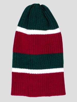 Шапка бордово-зеленая в полоску | 4397954