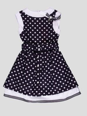 Платье темно-синее в горошек | 4397477