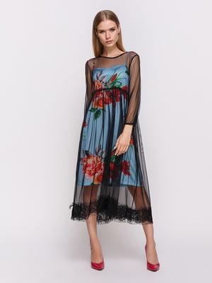Платье черно-голубое с цветочным принтом | 4403483