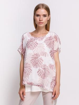 Блуза біла в принт   4386062