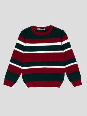 Джемпер бордово-зеленый в полоску | 4397413