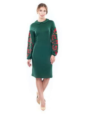 Платье зеленое с вышивкой | 4413386