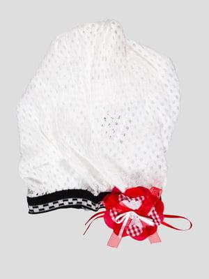 Шапка-берет біла з квіткою | 447981
