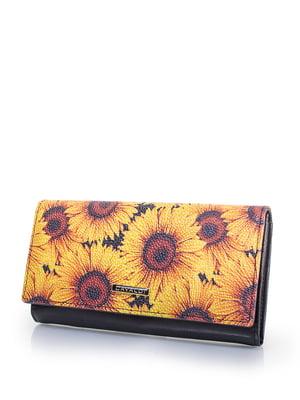 Гаманець чорний з квітковим принтом | 4413483