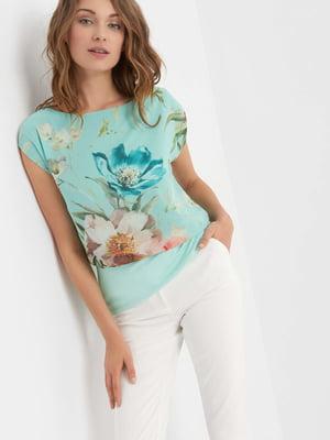 Блуза мятного цвета в цветочный принт | 4414860