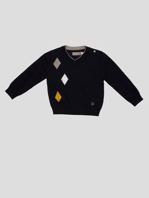 Пуловер темно-синій з ромбами | 4397166