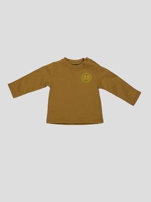 Лонгслів коричневий з принтом | 4396645