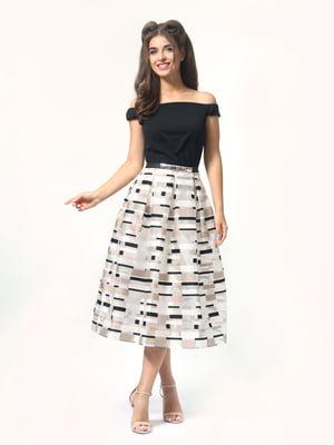 Сукня чорно-молочного кольору в смужку   4418803
